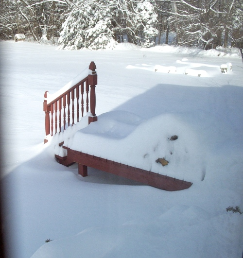 Side back porch with a pile of snow-covered wood and more drifts.