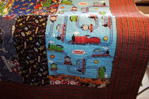 I put a big section of Thomas and friends trains into the quilt.